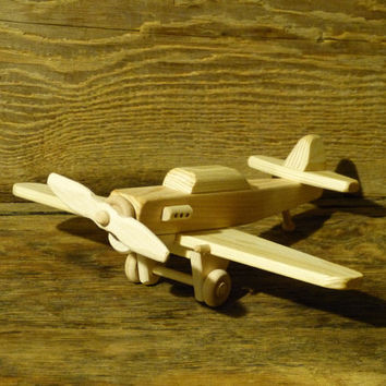 Handmade Wood Toy Fighter Plane P-40 World War 2 Airplane Wooden Toys Kids Childs Boys Birthday Present Gift Woodworking WW1