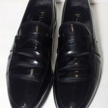 Prada Black Leather Loafers Slip Ons Shoes Men's Size 10.5 Size 43