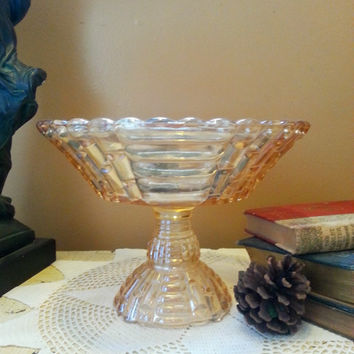 Jeanette Louisa Pattern Amber Compote Amber Iridescent Glass