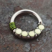 Lime Green Stone Daith Rook Cartilage Tragus Septum Hoop Earring