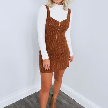 Escape The Ordinary Dress: Cognac/Off White