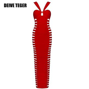 Sexy winter New Hollow Out Off The Shoulder Halter Bandage Women Ankle-Length Dress