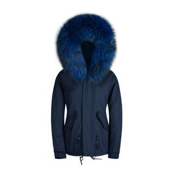 Raccoon Fur Collar Parka Jacket Navy With Matching Fur