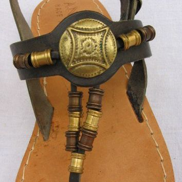 Special-ANANIAS Roman Greek Sandals leather handmade in Greece, size 7 (EU size 37) in black