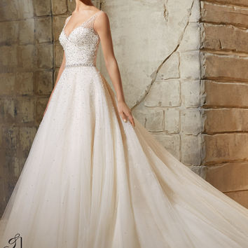 Blu by Mori Lee 5376 Beaded Tulle Wedding Dress