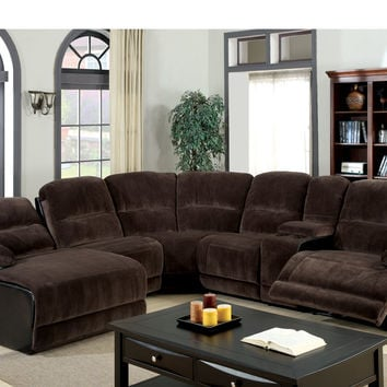 6 pc Glasgow contemporary style 2 tone dark brown elephant skin microfiber and leather like vinyl Sectional sofa with recliners on the ends