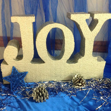 free standing styrofoam Decorative words Joy to the World for Christmas for the house with personalized words this season