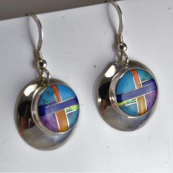 Sterling Silver Earrings - Inlay  Turquoise - Opal - Lapis Lazuli - Spiny Oyster - Sugilite - Southwestern  Native American