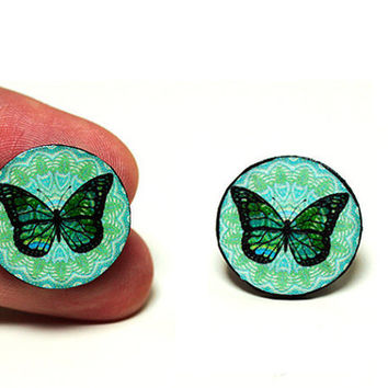 Butterfly Post Earrings Blue and Mint  Gift for her by MADEbyMADA