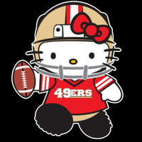 """Hello Kitty SF 49ers Sticker Dope Football TV Swag t shirt design sticker decal static cling, iron on or wall flirt 2"""" to 9"""" 415"""