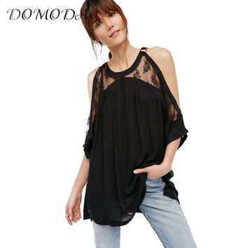 DOMODA 2017 Cute T-shirt Female O-neck Summer Solid Off Shoulder Lace Sheer Sexy T-shirt O-neck Tops Clothing