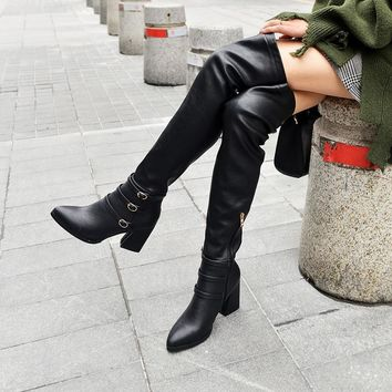 Women Leather Over The Knee Buckled Square Heel Boots