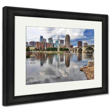 Framed Print, Minneapolis Downtown Skyline And Third Avenue Bridge Above Mississippi River
