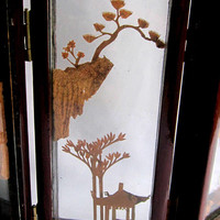 Mini Screen Divider Asian Red Lacquer Room Chinoiserie Six Clear Glass Panels Rare