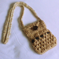 Beige hand knit small purse Cream crochet cell phone purse Knit treasure bag small organizer tote accessory money purse