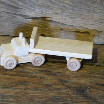 Handmade Wood Toy Tractor Trailer Flatbed Wooden Toys Flat Bed Toys under 10 Kids Boys Childs Birthday Gift Present