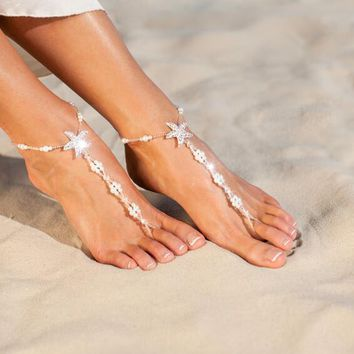 Pearl Barefoot Sandals Wedding Beach Foot Jewelry