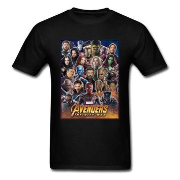 Together To Fight Avengers T Shirt 2018 Newest Men's T-Shirt Marvel Clothing Superheroes Tops Cotton Tees Black Tshirts Cool
