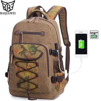 BAIJIAWEI Man Usb Rechargeable Backpack Washed Canvas Backpack Retro Leisure Shoulder Bag Men Travel Backpack Laptop Bag