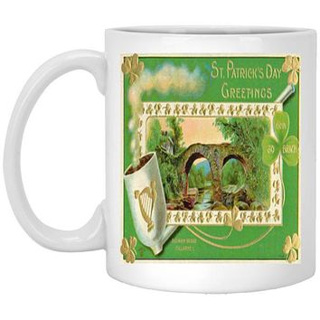 St. Patricks Day Vintage 1900's Irish Art Mug 11 oz White Ceramic Coffee Cup