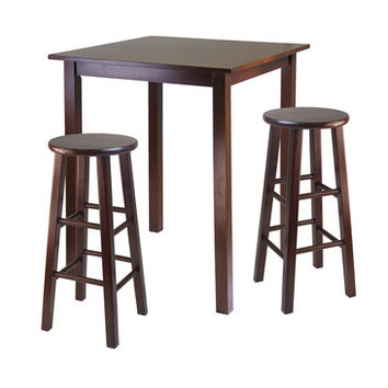 Winsome Wood Parkland 3 Piece High Table w/ 29 Inch Square Leg Stools in Walnut