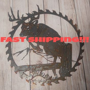 Deer Wall Hanging, Rustic Wall Decor, Unfinished Metal Signs, Sawblade Decor, Antler Decor, Sawblade Decor, Hunting Decor, Deer Hunting Buck