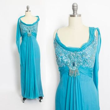 Vintage 1960s Dress - Blue Silk Chiffon Sequin Illusion Full Length Gown - Extra Small XS