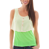 Striped Sheer Overlay Knit Top