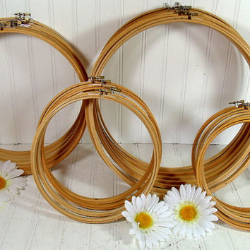 Wooden Round Embroidery Hoops Set of 4 - Vintage Sewing Essentials - Repurpose Craft Frames - 8 & 9 Inch Hoop Sets