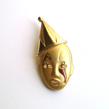 Vintage Clown Brooch Creepy Crying Enamel Glitter Gold Tone Red Blood Pierrot Bizarre Uncomfortable