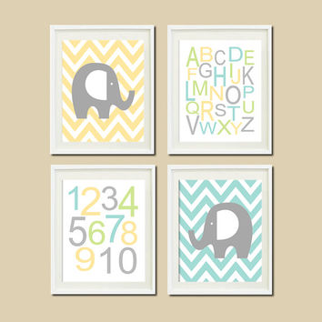 Elephant Nursery Art Decor Chevron Alphabet Numbers Aqua Soft Yellow Gray Set of 4 Prints Boy Nursery Artwork Wall Art Picture Baby Shower