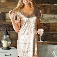 * Ready To Party Sequin Dress: Rose Gold