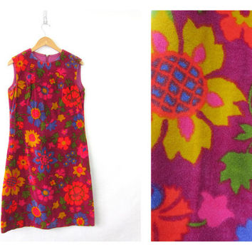 Retro MOD Shift dress. Bright Pink Orange Floral dress Hipster Go Go dress Velour Club 60s Disco Women's size Medium Large
