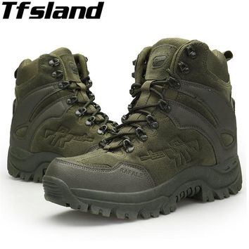 Tfsland Men Desert Military Tactical Boots Army Outdoor Hiking Boot 2018 Soft Shoes Waterproof Combat Boots Sneakers Ankle Boots
