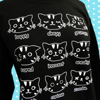 Cat Sweatshirt MOODY CATS Black Unisex Sweater by emandsprout