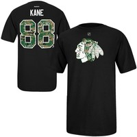 Reebok Patrick Kane Chicago Blackhawks Camo Name & Number T-Shirt - Black