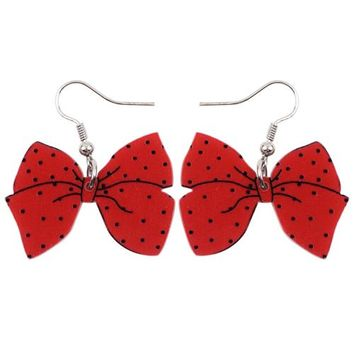 Fashion Big Long News Acrylic Drop Dangle Tie Bow-knot rosette Earrings Style Fashion Jewelry For Girls Women Teen Gift