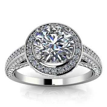Diamond Halo Round Center Moissanite Engagement Ring - Valentina Round