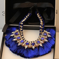 6 Colors Gold Plated Silk Ribbon Chain Crystal Rhinestone Tassels Statement Necklace = 1931628164
