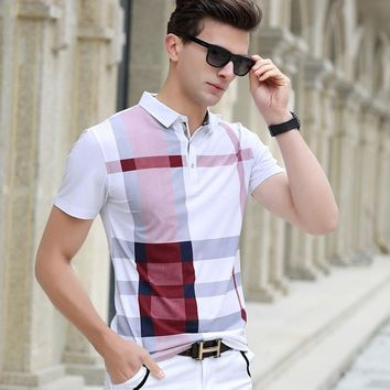 Men's Designer Plaid Business Polo T-Shirt