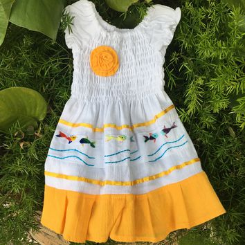 Mexican Baby Dress Off-shoulder Yellow