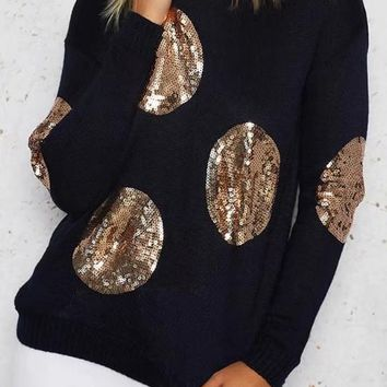 Black Polka Dot Sequin Long Sleeve Pullover Cute Sweater