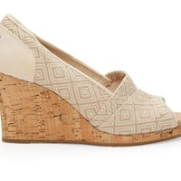 TOMS Natural Woven Diamond Women's Classic Wedges Natural