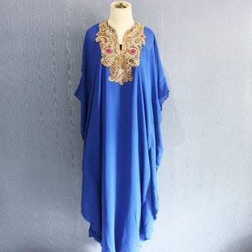 Blue Maternity Gift Sequin Caftan Dress Plus Size Caftan Dress for beach cover ups, Resortwear, Loungewear, Maxi Dresses, Honeymoon