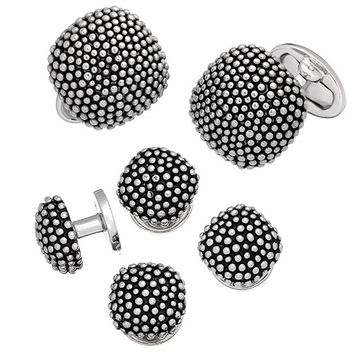Granulated Soft Square Domed Tuxedo Set - Cufflinks and Studs