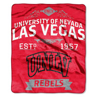 UNLV Runnin Rebels NCAA Royal Plush Raschel Blanket (Label Series) (50x60)