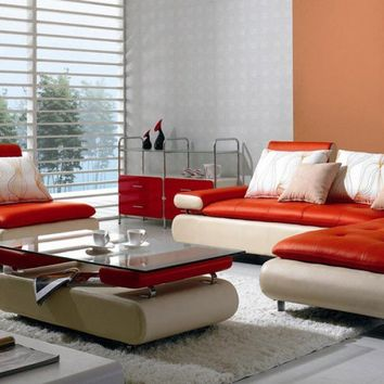 Divani Casa B205 - Modern White & Red Leather Sectional Sofa Set
