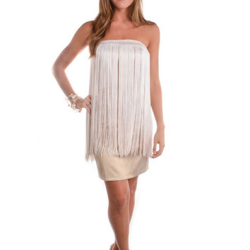 Short Sweetheart Dress with Fringe
