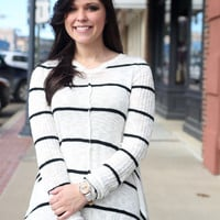 Stripe One, Strike Two Sweater {Black and White}