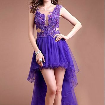Sexy Purple High Low Prom Cocktail Dresses Sleeveless Short Front Long Back Sheer Open Back Cocktail Dresses Robe De Cocktail